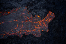 Volcanic Lava Flowing On Rough Slope