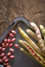 Red Beans On Antique Metallic Tray