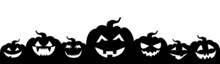 Pumpkin Frame For Halloween. Design Of Scary Emoticons On A White Background. Background For A Holiday, A Website Landing Page, Social Networks. Vector Illustration