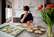 Young Boy Decorating Easter Cookies On Counter Of A Modern Kitchen.