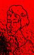 Kontur kobiety na czerwonym, zabrudzonym tle.