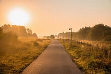 Beautiful Sunrise Pedestrian Road. Early Morning Nature Sunrise Light.