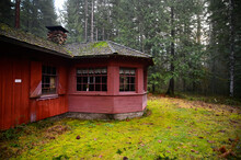 Rustic Red Cabin In National Forest