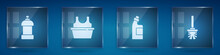 Set Bottle For Cleaning Agent, Basin With Shirt, And Toilet Brush. Square Glass Panels. Vector
