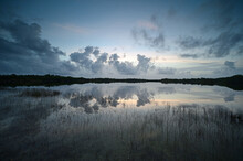 Colorful Sunrise Cloudscape Reflected In Calm Water Of Nine Mile Pond In Everglades National Park, Florida In Summer.