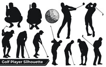Collection Of Golf Player Female Silhouettes In Different Poses