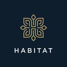 H Luxury, Leaves Gold Logo Design Template