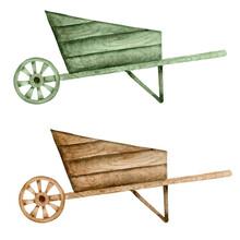 Wooden Wheelbarrow Watercolor Rustic Illustration. Farmhouse Element, Harvest Art.