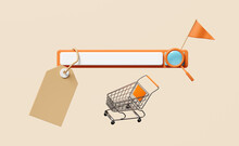 Blank Search Orange Bar With Magnifying Glass,shopping Cart,flag,price Tags Isolated On Beige Background ,minimal Web Search Engine Or Web Browsing,online Shopping Concept,3d Illustration Or 3d Render