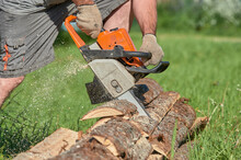 Sawing Timber With A Chainsaw On A Sunny Day In Summer