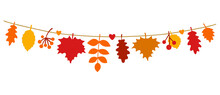 Beautiful Autumn Leaves Hanging On A String. Fall Season Banner In Flat Style. Colorful Seasonal Garland With Maple And Oak Leaves. Isolated On A White Background. Hand Drawn Vector Illustration.