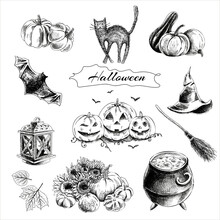 A Set Of Hand-drawn Elements For Halloween. Vintage Vector Illustration.