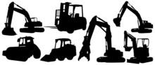 Backhoe Excavator Logo Element Vector Set. Excavator Heavy Equipment Silhouette Vector For Construction Company.