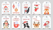 Cute Animals Christmas Tags. Holiday Gift Tag With Winter Owl, Deer And Bears. Happy Animal Celebrate Xmas Label Cartoon Vector Set