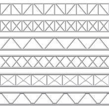 Metal Truss Girder. Steel Pipes Structures, Roof Girder And Seamless Metal Stage Structure Vector Illustration Set