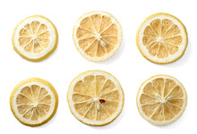 Dried Lemon Slices Isolated On The White Background, Top View