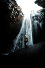 Men Si Standing  Near The Waterfalls, Stunnig View On The Powerful Water, Iceland