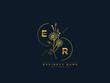 Luxury ER logo, initial floral er e r letter logo icon design for your brand or business