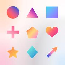 Colorful Gradient Geometric Shapes Set Vector