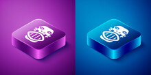 Isometric Mexican Mayan Or Aztec Mask Icon Isolated On Blue And Purple Background. Square Button. Vector