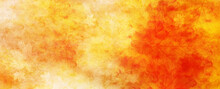 Red Orange And Yelllow Background With Watercolor And Grunge Texture Design, Colorful Textured Paper In Bright Autumn Or Fall Warm Sunset Colors