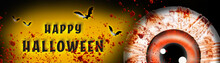 Halloween Banner. Halloween Illustration With Scary Eyes. And Blood. HAPPY HALLOWEEN.