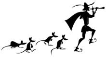 Pied Piper Of Hamelin (German: Rattenfänger Von Hameln). German Fairy Tale. Black And White.