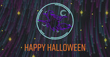 Image of neon halloween greetings text with witch and neon light trails