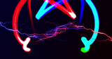 Image of red and blue electrical currents over colourful neon light trails on black