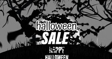 Image Of Halloween Greetings Text Over Spooky Black And White Tree, Grave Crosses And Moon
