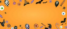 Halloween Background . Trick Or Treat Concept. Halloween Pumpkins On Background. Party With Copy Space.