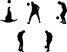 Boy Juggling The Ball, Set Of Silhouettes