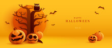 3D Illustration Of Halloween Theme Banner With Group Of Jack O Lantern Pumpkin And Paper Graphic Style Of Spooky Tree And Owl On Background.