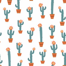 Seamless Pattern With Cacti And Flowers. Hand Drawn Vector Illustration. Image Of Cactus On A White Background. Suitable For Printing On Fabric, Clothing, Bedding, Wrapping Paper