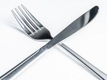 Sliver Fork And Knife On White Background, Cutlery Or Cooking, Macro Photograph