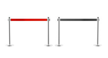 Metal Barriers With Red And Black Retractable Belt Fences Front View. Portable Ribbon Stanchion Stainless Steel For Crowd Control In Airport Or Museum Isolated On White Background. Realistic 3d Render