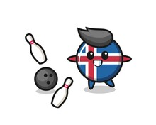 Character Cartoon Of Iceland Flag Is Playing Bowling