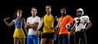 Leinwandbild Motiv Sport art collage. Tennis, volleyball, basketball, soccer and american football players posing like one multiethnic team isolated on dark studio background.