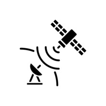 Satellite Signal Black Glyph Icon. Signal Receiving Dish Satelite. Global Telecommunications Network Connection. Silhouette Symbol On White Space. Vector Isolated Illustration