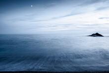 Sea At Night. Long Exposure. Blurr Of Sea Waves. Zen.