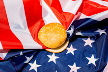 Hamburger Bun On American Flag