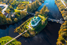 Aerial View Of The Little Church On The Island With Three Bridges