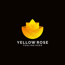 Gradient Colorful Yellow Rose Flower Logo Design