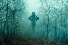 A Spooky Graveyard With A Cross Silhouetted In A Forest. With A Grunge, Vintage Edit.