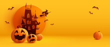 3D Illustration Of Halloween Theme Banner With Group Of Jack O Lantern Pumpkin And Paper Graphic Style Of Castle On Background.