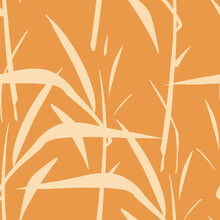 Japanese Style Seamless Pattern With Young Bamboo Leaves And Floral Motif. Vector Seamless Background Orange Tile.
