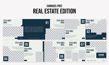 Set Of Editable Social Media Instagram Carousel Post Real Estate With Modern Design Vector Template Ai & Eps 10
