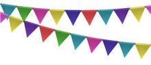 Flags Birthday Party Decor. Triangle Colorful Holiday Garland. Vector Illustration