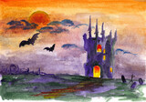 halloween landscape with castle and moon