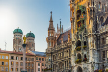 New Town Hall And Frauenkirch In Munich, Germany